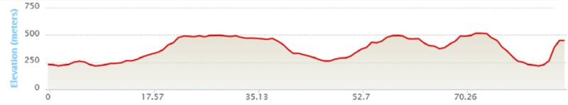 Elevation for the Entire Race (961 meters gain)